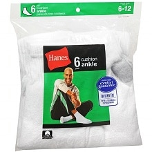 Hanes Men's Ankle Cushion Socks Shoe Size 6-12 6-12 White