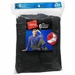 Hanes Men's Crew Cushion Socks Shoe Size 6-12 Black