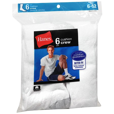 Hanes Men's Crew Cushion Socks 6-12 White