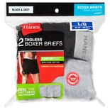 Hanes Men's Boxer Briefs Large Black/Grey