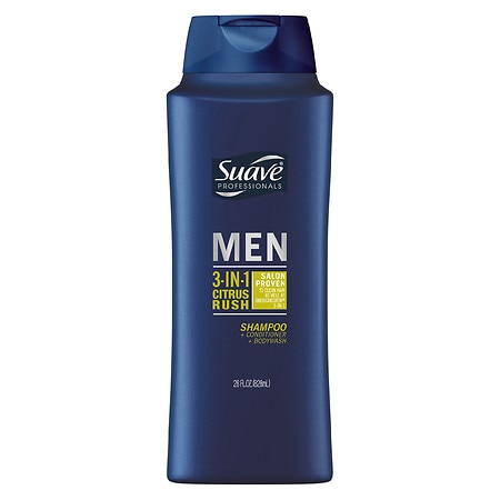 Suave Professionals Men 3-in-1 Shampoo, Conditioner & Body Wash Citrus Rush