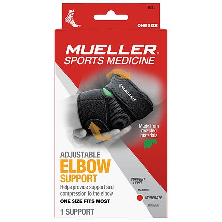 Mueller Green Adjustable Elbow Support, Moderate Support, Model 6315 One Size Black
