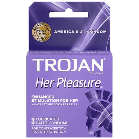 Trojan Her Pleasure Sensations Lubricated Premium Latex Condoms