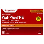 Walgreens Wal-Phed PE Nasal Decongestant Tablets Maximum Strength