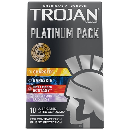 Trojan Platinum Pack Lubricated Latex Condoms
