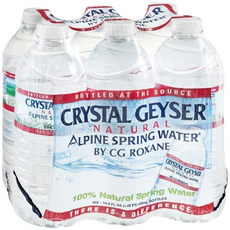 Crystal Geyser Natural Alpine Spring Water Bottles 16.9 oz Bottles, 6 pk
