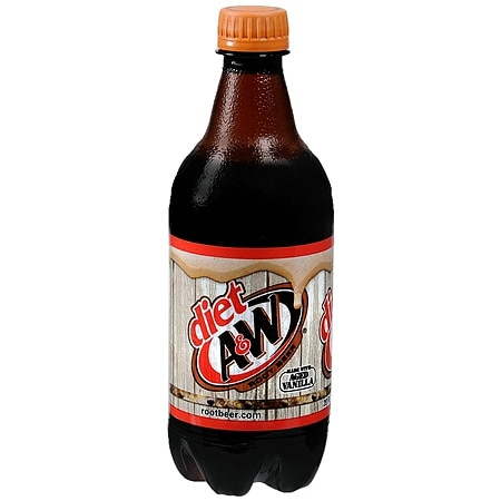 Diet A&W Root Beer Soda 20 oz. Bottle