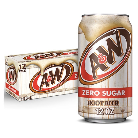 Diet A&W Soda Root Beer, 12 oz Cans, 12 pk
