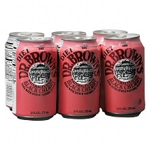 Dr. Brown's Diet Soda 6 Pack Cans Black Cherry