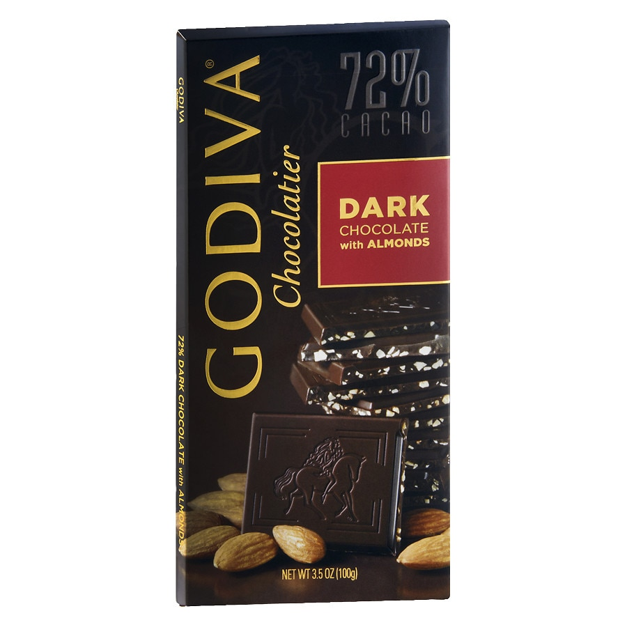 godiva 72  cacao candy bar dark chocolate with almonds