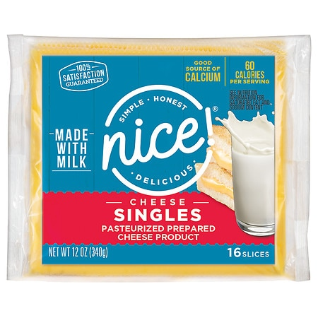Nice! Singles Pasteurized Process American Cheese Food ...