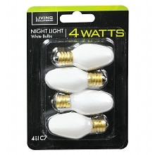 Light Bulbs White 4 Watt Night Light, C7