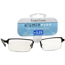 Foster Grant Alumin Eyes Metal Lightweight Half Frame Reading Glasses +3.25 Gunmetal