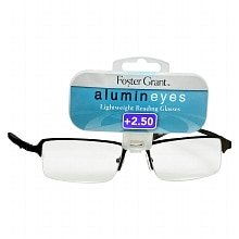 Foster Grant Alumin Eyes Metal Lightweight Half Frame Reading Glasses +2.50