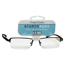 Foster Grant Alumin Eyes Metal Lightweight Half Frame Reading Glasses +1.00 Pewter