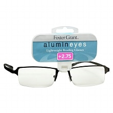 Foster Grant Alumin Eyes Metal Lightweight Half Frame Reading Glasses +2.75 Pewter