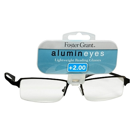 Foster Grant Alumin Eyes Metal Lightweight Half Frame Reading Glasses +2.00 Pewter