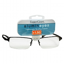 Foster Grant Alumin Eyes Metal Lightweight Half Frame Reading Glasses +1.50 Pewter