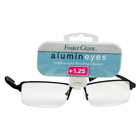 Foster Grant Alumin Eyes Metal Lightweight Half Frame Reading Glasses +1.25