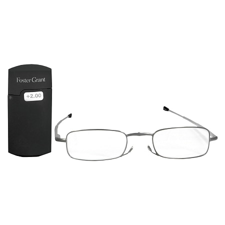 Foster Grant MicroVision Optical Metal Folding Micro-Reader Reading Glasses Gideon +2.00