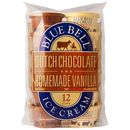 Blue Bell Ice Cream Cups Dutch Chocolate & Vanilla