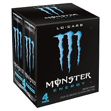 Monster Energy Lo-Carb Energy Supplement Drink 4 Pack