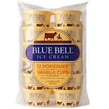 Blue Bell Ice Cream Cups 12 Pack Homemade Vanilla Flavored