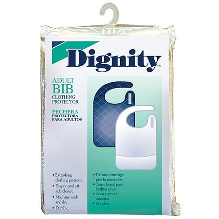 Dignity Adult Bib White Terry 18x30 inch with Crumb Catcher