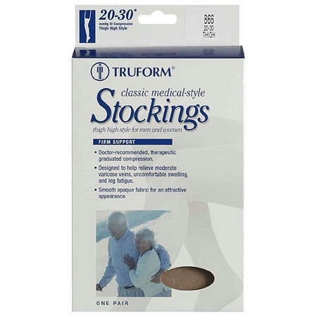 Truform Stocking, Thigh High Open Toe Style (Firm) 20-30mm Medium Beige