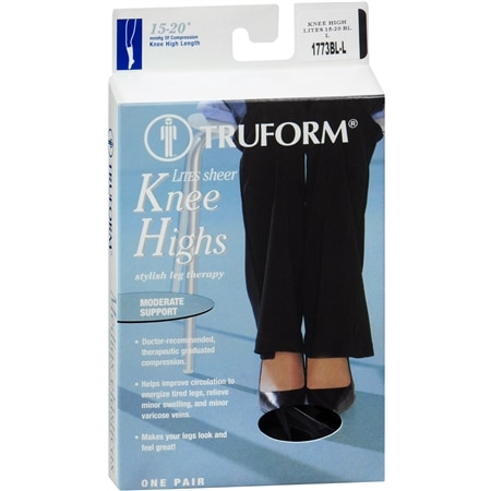 Truform Lites Women's Moderate Sheer Knee Highs Size L Large