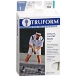 Truform Men's Moderate Athletic Support Socks Size M White