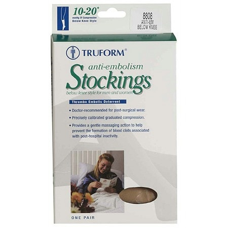 Truform Anti-Embolism Stocking, Below Knee Closed Toe Style XL