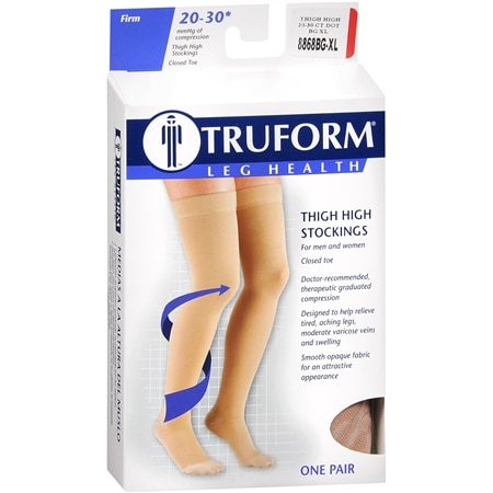 Truform Stocking, Thigh High Closed Toe Style (Firm) 20-30mm with Beaded Band Beige