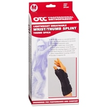 OTC Professional Orthopaedic Lightweight Breathable Wrist/Thumb Splint, Right M Black