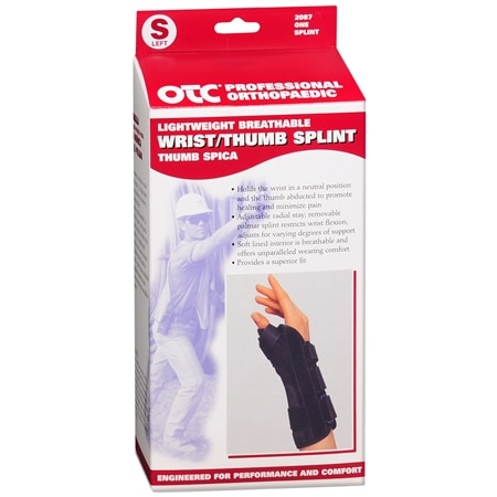 OTC Professional Orthopaedic Lightweight Breathable Wrist/Thumb Splint, Left Black