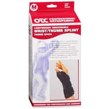 OTC Professional Orthopaedic Lightweight Breathable Wrist/Thumb Splint, Left M Black