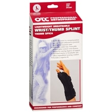 OTC Professional Orthopaedic Lightweight Breathable Wrist/Thumb Splint, Left L Black