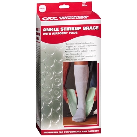 OTC Professional Orthopaedic Ankle Stirrup Brace with AIRFORM Pads, Right One Size White