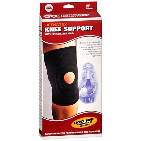 OTC Professional Orthopaedic Knee Support with Stabilizer Pad 3XL Black