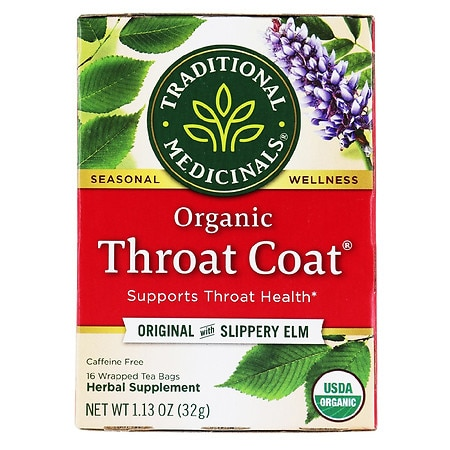 Traditional Medicinals Caffeine Free Organic Herbal Tea Throat Coat