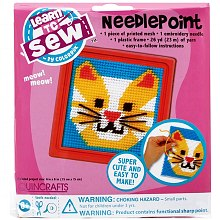 Quincrafts Learn to Sew Needlepoint Kit, Cat