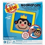 Colorbok Quincrafts Learn to Sew Needlepoint Kit 6 inch x 6 inch Monkey with Yellow Frame