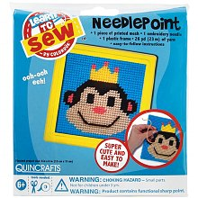 Quincrafts Learn to Sew Needlepoint Kit 6 inch x 6 inch, Monkey with Yellow Frame