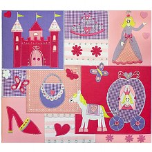 Amanda Blue Post-Bound Embellished Fabric Album  12 inch x 12 inch Princess Carriage