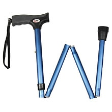 Carex Soft Grip Folding Cane Blue