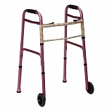 Mabis Healthcare Two-Button Release Aluminum Folding Walker with 5 inch Wheels Pink