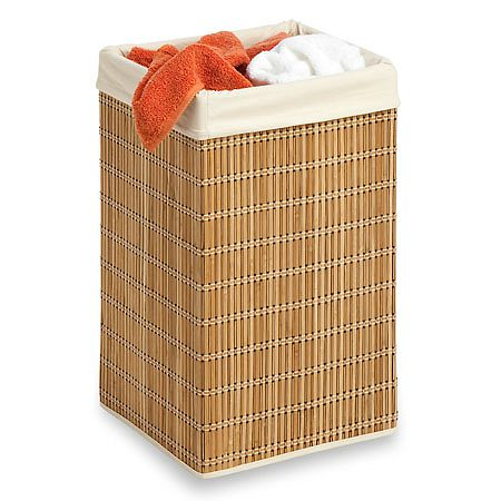 Honey Can Do Bamboo Square Wicker Hamper