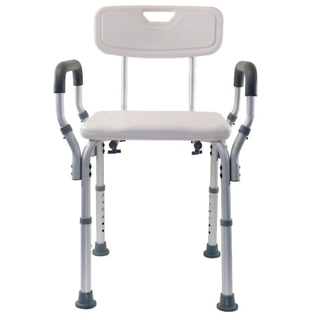 Essential Medical Adjustable Removable Arm Shower Bench with Back