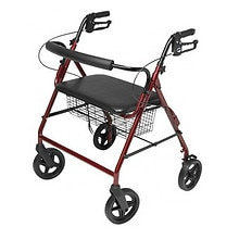 Lumex Walkabout Four-Wheel Imperial Rollator - Contoured Backbar Burgundy