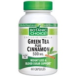 Botanic Choice Green Tea Plus Cinnamon 500 mg Herbal Supplement Capsules